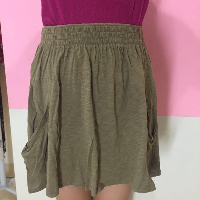 ZARA, Mini Skirt, Green Army Color, Size 28.