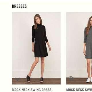 全新⋯Abercrombie & Fitch黑色立領小洋裝連身裙