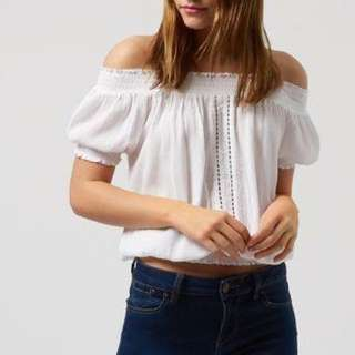 Brand New Newlook White Ladder Lace Gypsy Top
