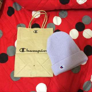 Champion毛帽粉紫