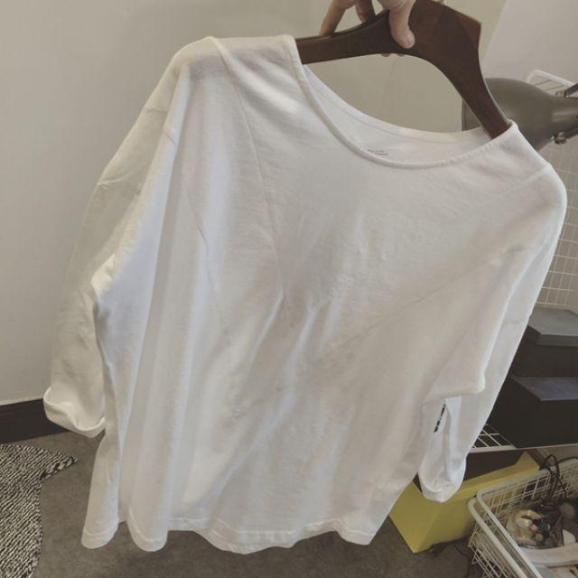 007預購。基本款百搭寬鬆白色長袖T恤