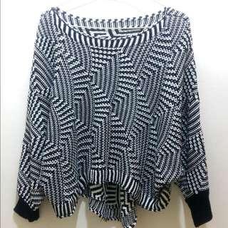 🚚 黑白幾何短版毛衣