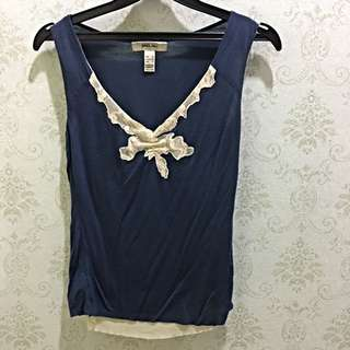 MANGO Top , Navy Blue Colour With Lace , Size Xs