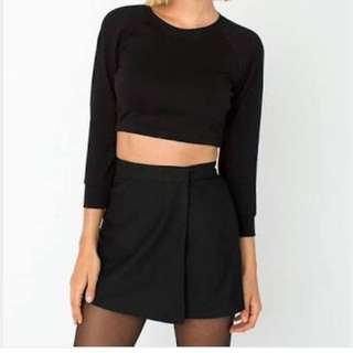 American Apparel Mini Wrap Skirt Black Sz S New With Tags
