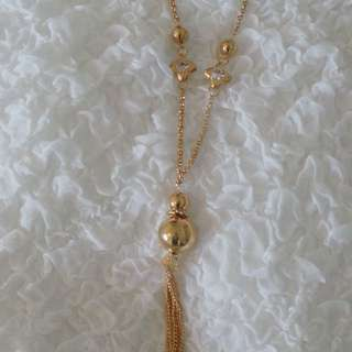 Long Gold Tassel Necklace With Earrings