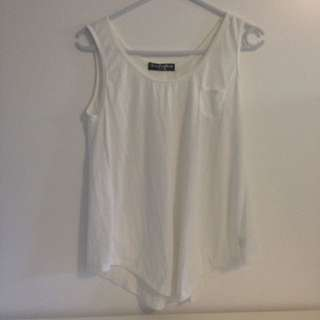 White Singlet Top With Pocket