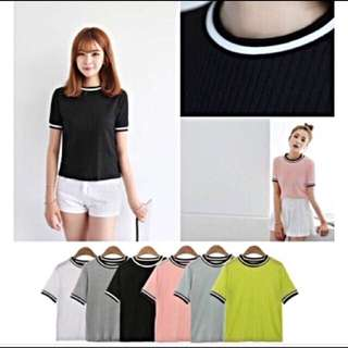 Black jersey outline shirt top