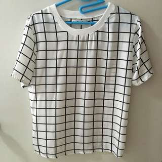 White grid chiffon shirt top