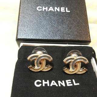 Authentic Chanel Earrings (Grey/Gold)