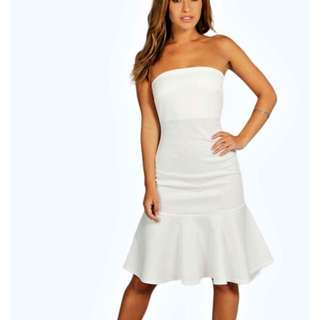Petite Mermaid White Strapless Dress