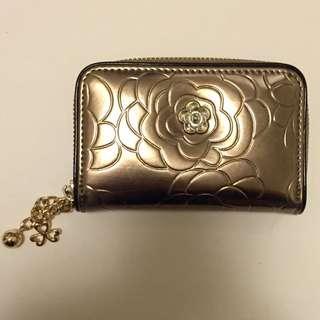 玫瑰花紋古銅金 零錢包