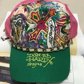 2手ED HARDY電繡鏈飾帽