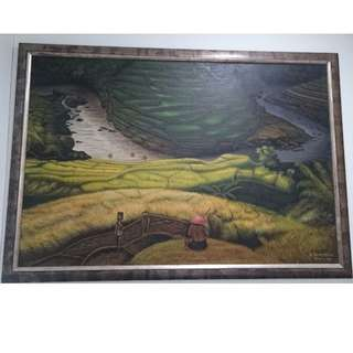 Painted Canvas of Paddy Field