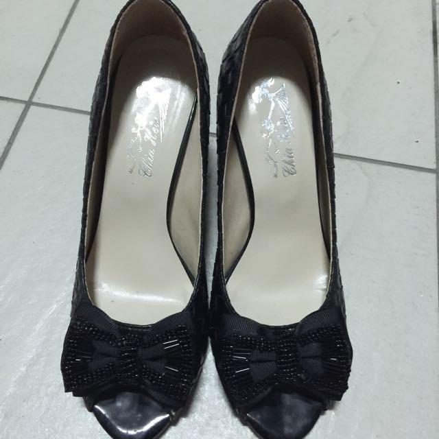 黑色編織高跟鞋、尺寸22.5,僅試穿