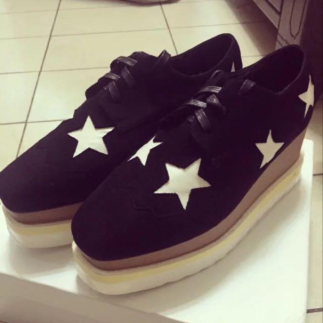 黑色星星麂皮鬆糕鞋36號全新 (降價)