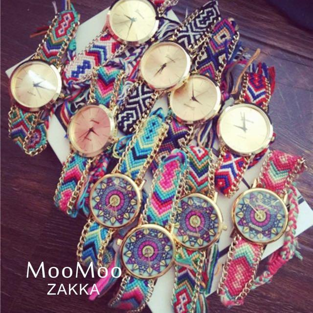 彩色繽紛民族風編織手繩綁帶復古手錶手鍊