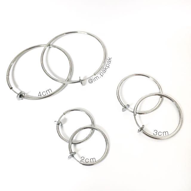 ♡免運現貨♡銀色圓耳夾/耳環