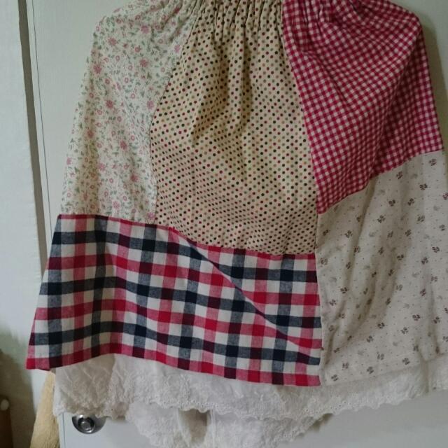 森林系棉質拼布中長裙