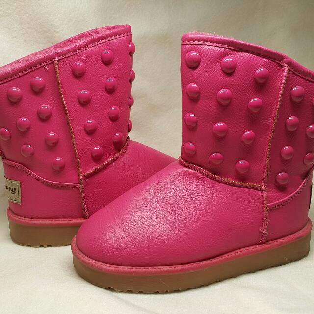 可愛桃紅色雪靴(二手)