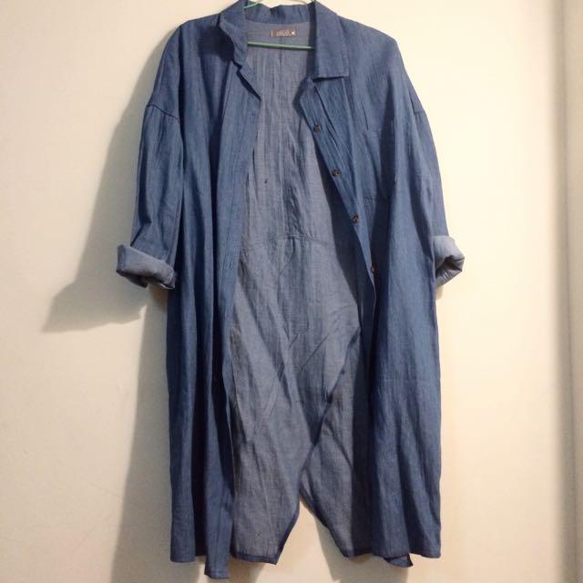 春夏薄款長版單寧牛仔下開叉造型外套、襯衫💕全新