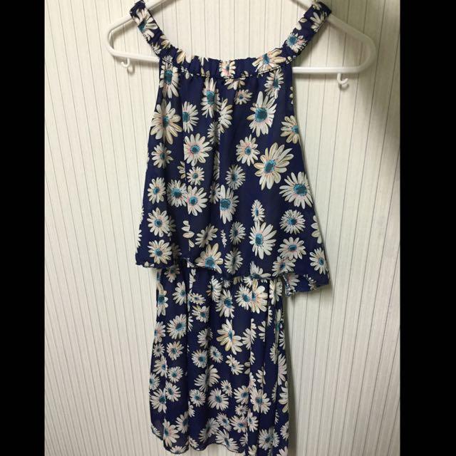 深藍花花連身裙✨