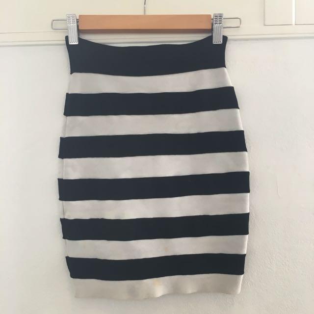 Black & White Stripe Bandage Skirt