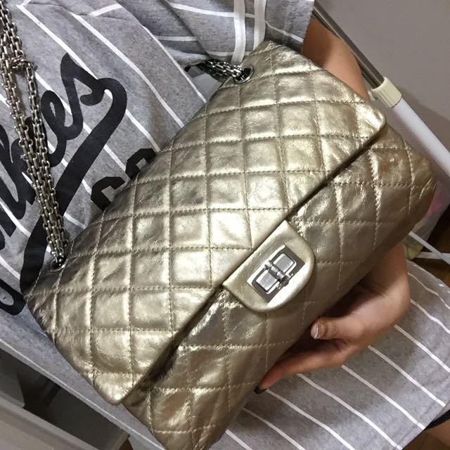 069716b6ec93db Chanel Reissue Gold Metallic, Luxury on Carousell