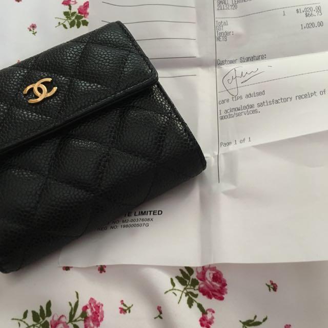10da81f50f33 Authentic Chanel Short Wallet Black caviar With Gold
