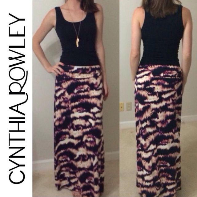 Cynthia Rowley Maxi Skirt Purple Motif