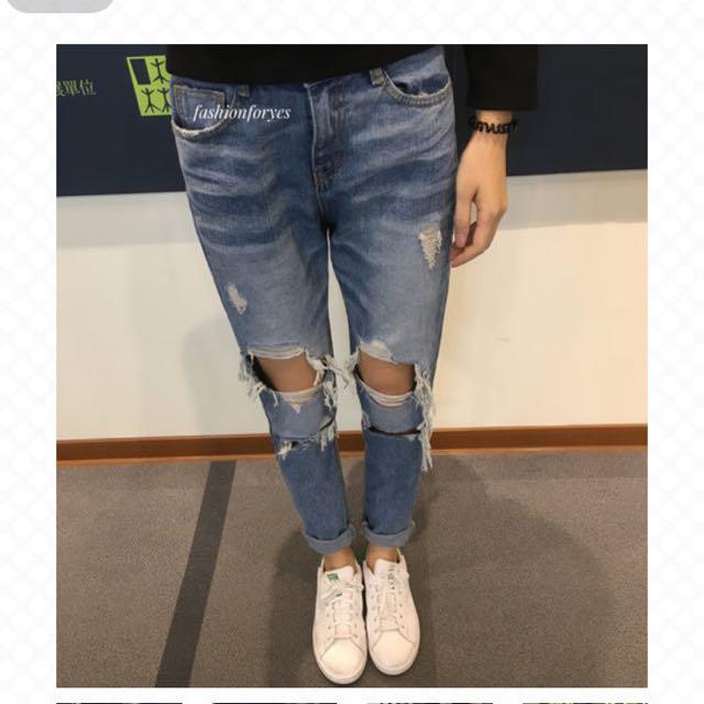Fashion For Yes歐美男友破褲m號