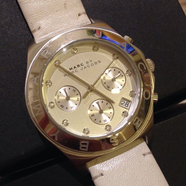 Marc Jacobs White Leather Band With Jewels