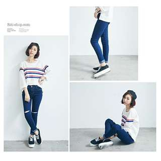 降降降😭全新💥窄管牛仔褲 原色破損銅釦彈性長褲