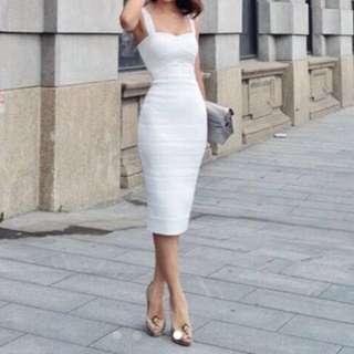 Herve Leger White Bandage Dress.        Chanel Louis Vuitton Prada Chanel Asos Nasty Girl Mds Love Bonito