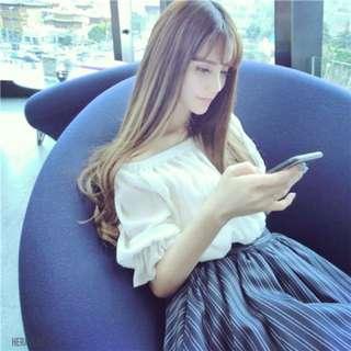 BS五月新品 韓版條紋露肩一字領洋裝連衣裙91B2(30230)
