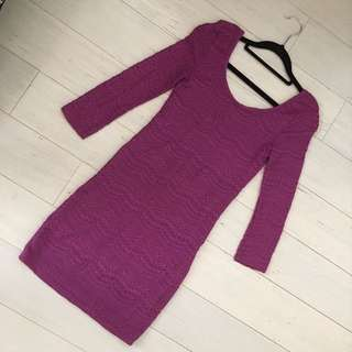 Sexy Purple Long Sleeve Lace Dress