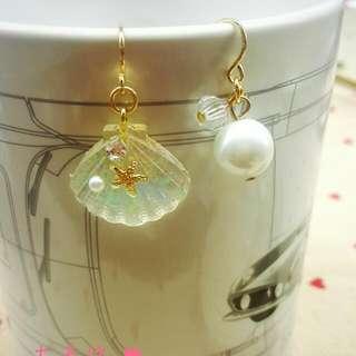 貝殼 珍珠 耳環