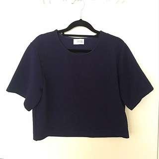 Navy Blue Simple Crop Top