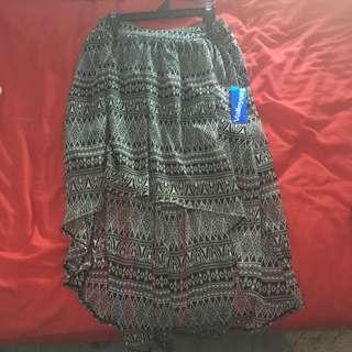 Black And White Hi-low Skirt