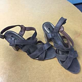 Tony Bianco Leather Sandals Brown 7 38 Shoes Heels