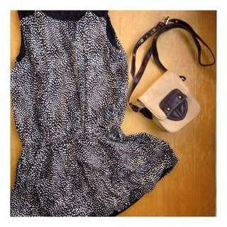 黑底白點無袖休閒小洋裝