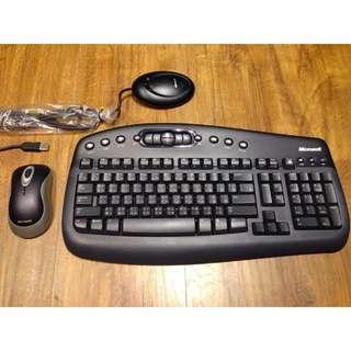 微軟Microsoft深藍色光學滑鼠鍵盤組,沒用多久非常新,有附盒子