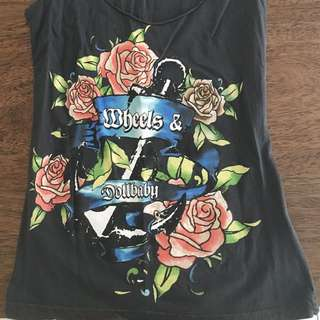 Wheels and Dollbaby singlet top