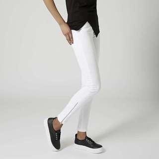 Topshop white zip ankle Jamie jeans