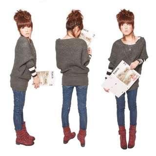 (全新)灰色麻花厚針織衫