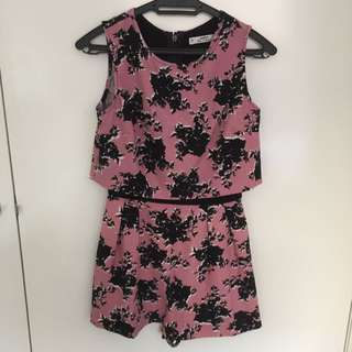 MISS SELRIDGE Petite Floral Pink Playsuit