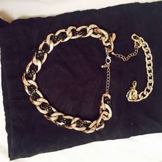 Gold Chain Necklace With Bracelet