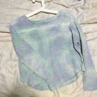 Pastel Green/light Blue Shade Mesh Pull Over