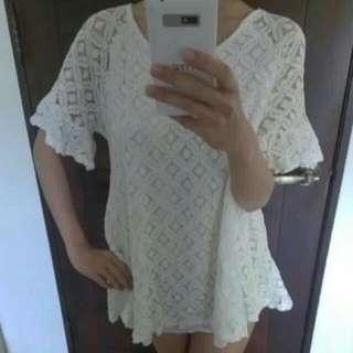 蕾絲 公主袖白色洋裝
