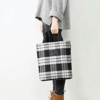 現貨 日本格紋包學生手提袋~簡約格紋環保袋 防潑水