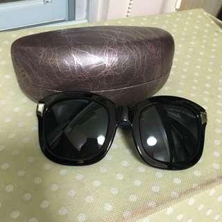 韓 時尚感十足 粗匡藍邊太陽眼鏡